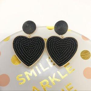 J. CREW Black Beaded Heart Drop Earrings